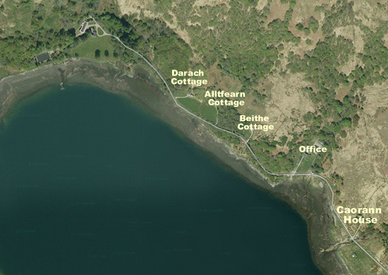 Location of self catering cottages and Lodge